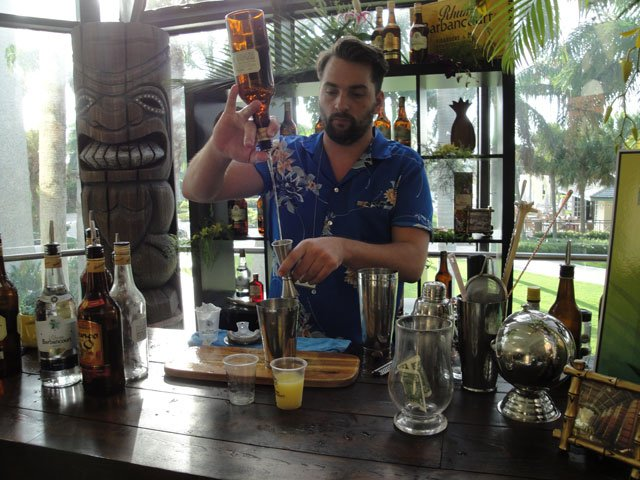 Sponsor Rhum Barbancourt offered tastings of its distinctive rums, plus four special cocktails mixed up daily in a tropical-themed booth. (Atomic Grog photo)