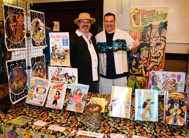 Michael Gordon (left), aka Tiki Zombie, with fellow comic professional William Michael Kielhorn. Gordon was making his first visit to The Hukilau. (Photo by Go11Events.com)