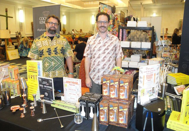 The Cocktail Kingdom booth, manned by Ethan Bailey and owner Greg Boehm, featured all the new Beachbum Berry Tiki barware, plus books and other nifty bar tools. (Atomic Grog photo)