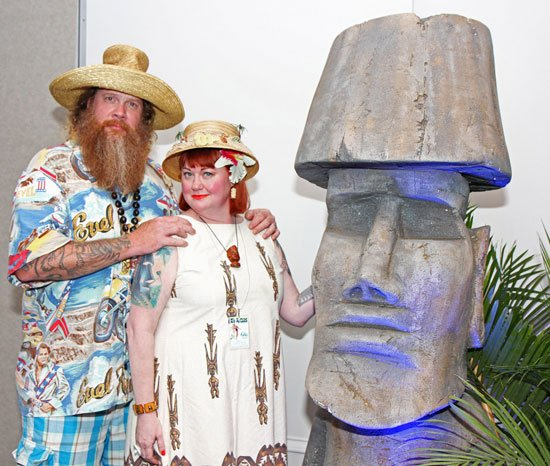 """Jim Stacy from The Cooking Channel joins The Hukilau's Christie """"Tiki Kiliki"""" White at the Panorama Ballroom for the night's entertainment. (Photo by The Tanabi Group)"""