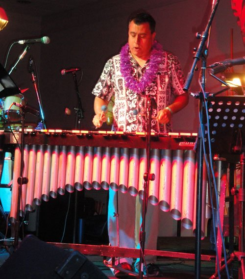 Vibraphonist Make Riddle is also known as band leader Marty Lush and podcaster Digitiki (The Quiet Village). (Atomic Grog photo)