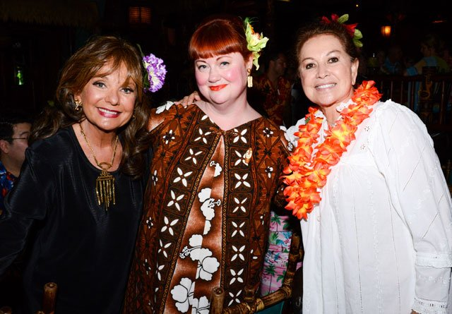 "The Hukilau's Christie ""Tiki Kiliki"" White is flanked by two special ladies: Actress Dawn Wells (left) and Mai-Kai owner Mireille Thornton, also the show choreographer and costume designer. (Photo by Go11Events.com)"