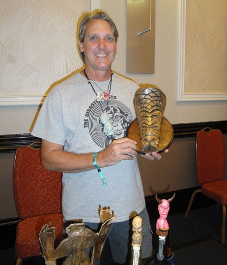 South Florida artist Tom Fowner makes creative Tiki items out of palm tree branches. (Atomic Grog photo)