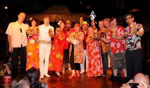 "Christie ""Tiki Kiliki"" White (center) and her crew on stage at The Mai-Kai during the 2014 main event"