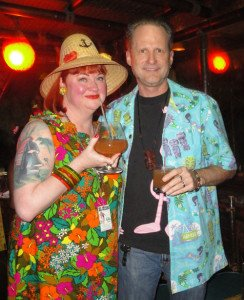 "The Hukilau's Christie ""Tiki Kiliki"" White and The Atomic Grog's Jim ""Hurricane"" Hayward enjoy cocktails in The Molokai lounge during The Hukilau 2015. (Atomic Grog photo)"