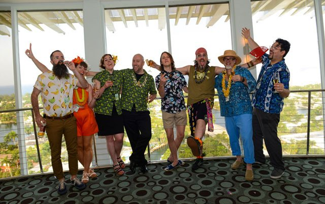 The Tiki Tower Takeover team celebrates a job well done. (Photo by Go11Events.com)