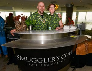 Martin Cate and Rebecca Cate represented Smuggler's Cove  at the first Tiki Tower Takeover at The Hukilau in June 2015. They will return in 2016. (Photo by Go11Events.com)