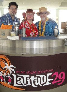 "The Hukilau's Christie ""Tiki Kiliki"" White welcomes Beachbum Berry and Steve Yamada"