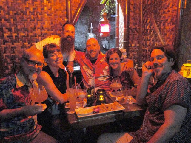 "The Tiki Tower Takeover crew stages a Molokai bar takeover! From left: Jeff ""Beachbum"" Berry,  Shelby Allison, Paul McGee, Martin Cate, Rebecca Cate, Brian Miller."