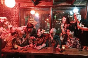 The Tiki Tower Takeover crew (and Adam Kolesar) recreate The Last Supper in The Molokai bar at The Mai-Kai. (Photo by Pablus)