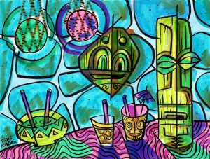 """Neon Still Life"" by Ken Ruzic (marker and ink on watercolor paper) is among the many small/affordable drawings he'll have for sale in August at Tiki Oasis. (Facebook photo)"