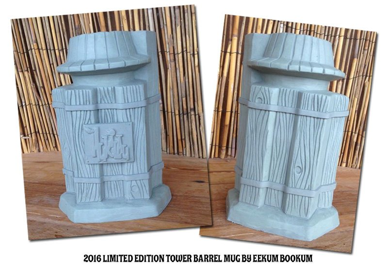 An early version of the limited-edition Pier 66 Tower Barrel Mug by Eekum Bookum. It includes two icons in one mug: The Pier 66 tower and The Mai-Kai's Rum Barrel