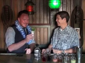 The Mai-Kai's Kern Mattei (right) makes a Grapefruit Julep for Fwaygo Rum's Luke Tullos.