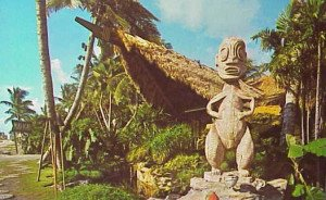 A postcard from the 1960s. The large Tiki still stands on the northeast edge of the property.