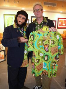 "Shag welcomes Cornelius to Shag the Store in Palm Springs for the release of his ""Chimp"" Aloha shirt on Dec. 18. (Photo by Kari Hendler)"