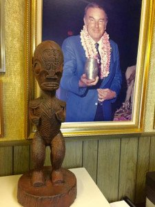A cast cement Tiki created by Will Anders from a mold that The Mai-Kai's original owner, Bob Thornton (pictured), had the foresight to have made. (Photo by Will Anders)
