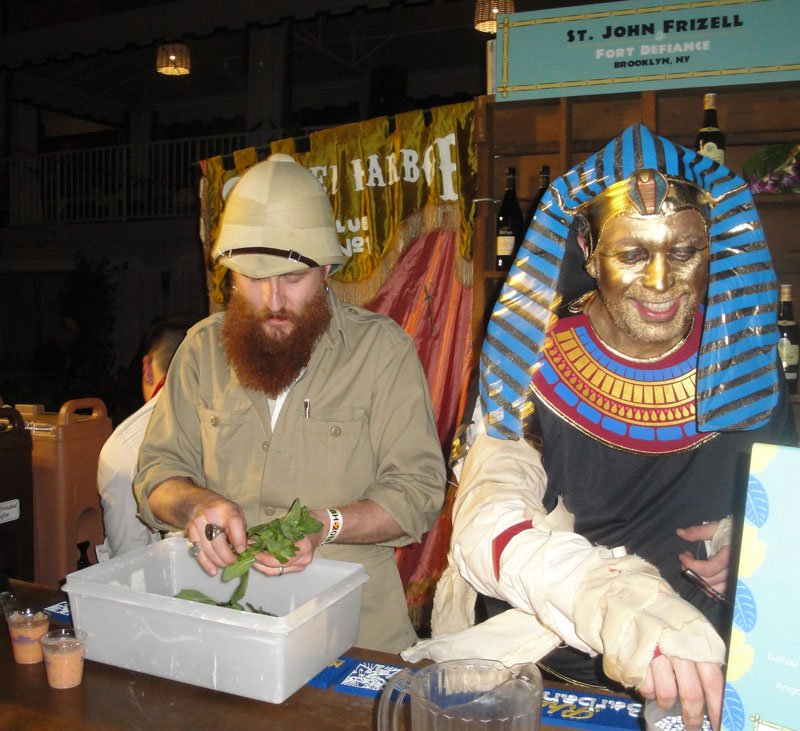 St. John Frizell (right) and Tyler Caffall of Fort Defiance in Brooklyn get into the spirit of the festivities as they prepare the Body Snatcher cocktail.