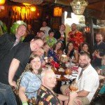 The crew from Porco Lounge & Tiki Room celebrate in The Molokai lounge at The Mai-Kai