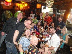 The crew from Porco Lounge & Tiki Room celebrate in The Molokai lounge at The Mai-Kai