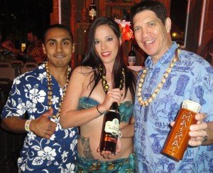 Bartender Navind Boodoo (left), Molokai Girl Roxy Centera, and manager Kern Mattei from The Mai-Kai in Fort Lauderdale compete in the Art of Tiki at The Surfcomber hotel on Feb. 26, 2016. (Atomic Grog photo)