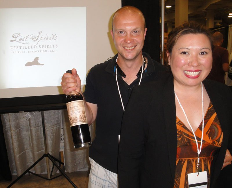 Bryan Davis (left) and Joanne Haruta of Lost Spirits Distillery won a gold medal in the overproof category for their Colonial American Inspired Rum.
