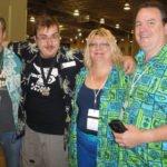 Hurricane Hayward (left) runs into rum fest organizer Robert V. Burr, and Fraternal Order of Moai members Lynda Katzen and Keith Wright during the grand tastings.