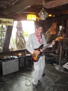 Skinny Jimmy Stingray jammed on surf and lounge tunes in The Molokai lounge at The Mai-Kai on April 30 during The Atomic Grog's anniversary party. (Photo by Hurricane Hayward)