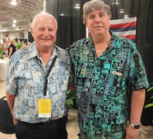 Bob Young (left) of Hawaii's Koloa Rum Co. with Miami Rum Festival organizer Robert A. Burr. Koloa won seven Rum XP awards.  (Photo by Hurricane Hayward)