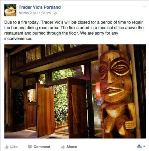 Trader Vic's in Portland announcement
