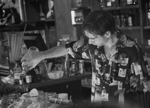Aku Aku's Eric Solomon mixes up cocktails in March 2014
