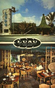 A vintage postcard from The Luau. (Posted on Tiki Central by SoBeTiki)