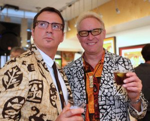 Shag with Rory Snyder (Tiki Caliente, Mod-Palm Springs) at the Feb. 20 party at Shag the Store. (Photo by Kari Hendler from Poly Hai)