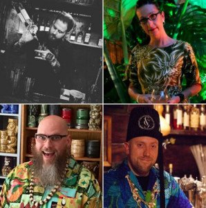 Tiki Caliente symposiums feature (clockwise from upper left) by Chad Austin, Marie King,  Martin Cate, and Jason T. Smith.