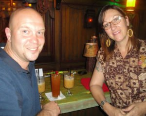 Bryan Davis, creator of Santeria Rum, enjoys cocktails in The Molokai bar at The Mai-Kai with Marie King from Tonga Hut in Los Angeles on Tuesday, April 12, during a Miami Rum Festival party. (Photo by Hurricane Hayward)