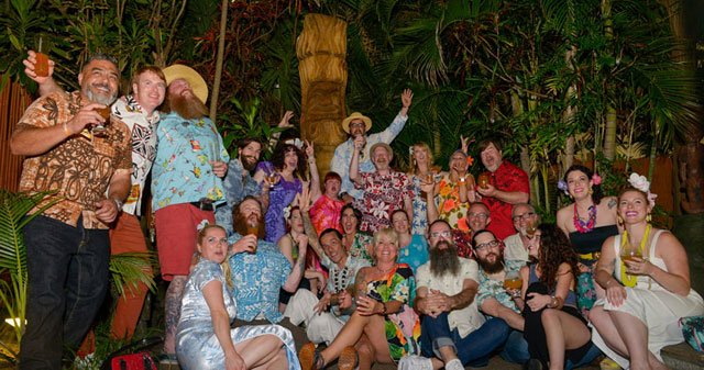 A group photo during the opening night of The Hukilau in June 2016. The event celebrating Polynesian Pop culture has been held at The Mai-Kai since 2003. (Photo by Go11Events.com)