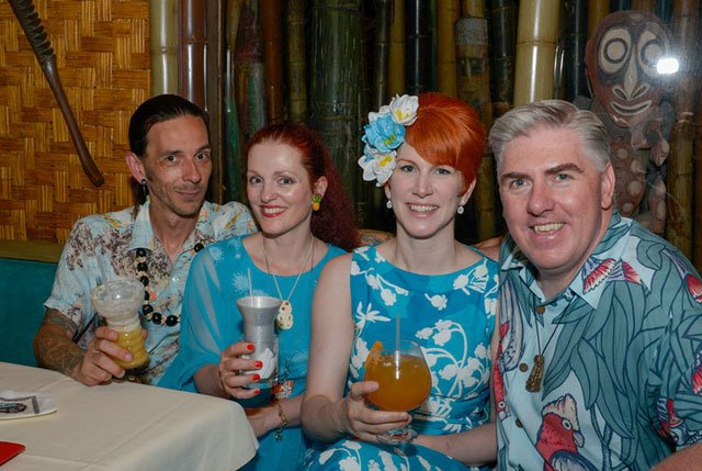 From left: Paul Roe, Gina Santucci, Nicole Desmond, and Joe Desmond enjoy cocktails and dinner in the Tahiti dining room. (Photo by Go11Events.com)
