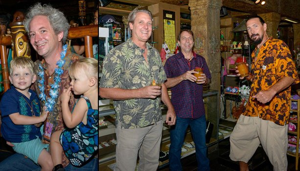 Family man Jimi Gonzalez of the Straw Hat Barmen and The Hukilau bar team (left) arrives at The Mai-Kai. Meanwhile, Bill Dillard of Go11 Events enjoys cocktails with artists Tom Fowner (left) and Crazy Al Evans (right) during the book signing. (Photos by Go11Events.com)