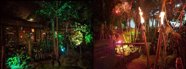 Guests can stroll through The Mai-Kai's dark and exotic outdoor gardens, its winding paths illuminated by Tiki torches. (Photos by Barron Elam)