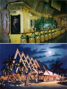 The Tiki that was removed from the garden has a long history at The Mai-Kai, formerly living in the now-removed Surfboard Bar more than 40 years ago and also appearing in a artist's rendering. The carving's wings are reportedly safe in storage and will be reattached when it's installed inside the restaurant. (Postcards courtesy of MaiKaiHistory.com)