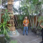The father-and-son team of Hoku and Kai, who perform in The Mai-Kai's Polynesian stage show, perform a native ritual welcoming King Kai and honoring carver Will Anders on May 22.