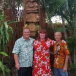 "From left: Mai-Kai owner Dave Levy (left) on May 22 with the prime movers of the new King Kai carving: The Hukilau's Christie ""Tiki Kiliki"" White and artist Will Anders."