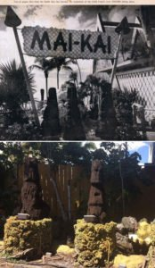 "The trio of Tikis near the entrance to The Mai-Kai date back to its 1956 opening, but by 2016 had become severely decayed. Christie ""Tiki Kiliki"" White led an effort to have them replaced by new Tikis carved by three Florida artists. (Bottom photo by Christie ""Tiki Kiliki"" White)"