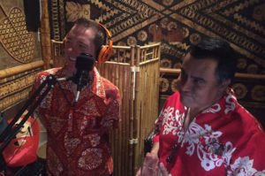 Sunshine Tiki of Zen Tiki Lounge (left) and Digitiki of The Quiet Village recording live at Don the Beachcomber's Tiki Makeke on April 30. (Facebook photo)
