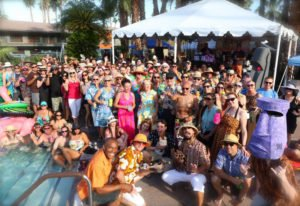 The Tiki Caliente tribe gathers poolside at the Caliente Tropics resort in Palm Springs. (Photo by Kari Hendler of Poly Hai)