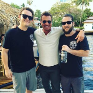 Joe Durkin and Avi Aisenberg of South Florida Distillers with Travel Channel's Jack Maxwell ('Booze Traveler') after their recent tour of the Fort Lauderdale waterways. (Facebook photo)