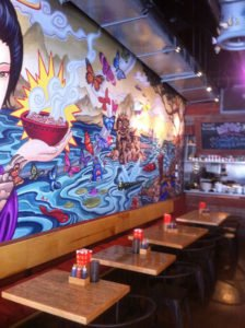 Kapow! Noodle Bar features edgy artwork, plus food and cocktails to match. (Photo by Hurricane Hayward, July 2013)