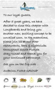 The Longboards closing announcement posted on Facebook.