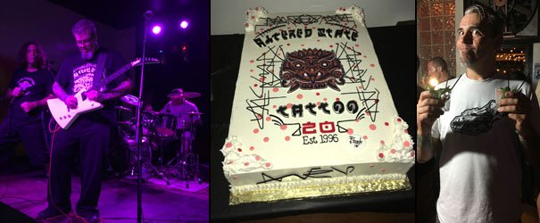 Altered State Tattoo 20th anniversary party at Respectable Street: Kenny 5 (left), Pooch and JC Dwyer kick out the jams with Ferocious Stones. Many guests enjoyed cake, while Dwyer was a two-fisted drinker of Atomic Grog cocktails. (Atomic Grog photos)
