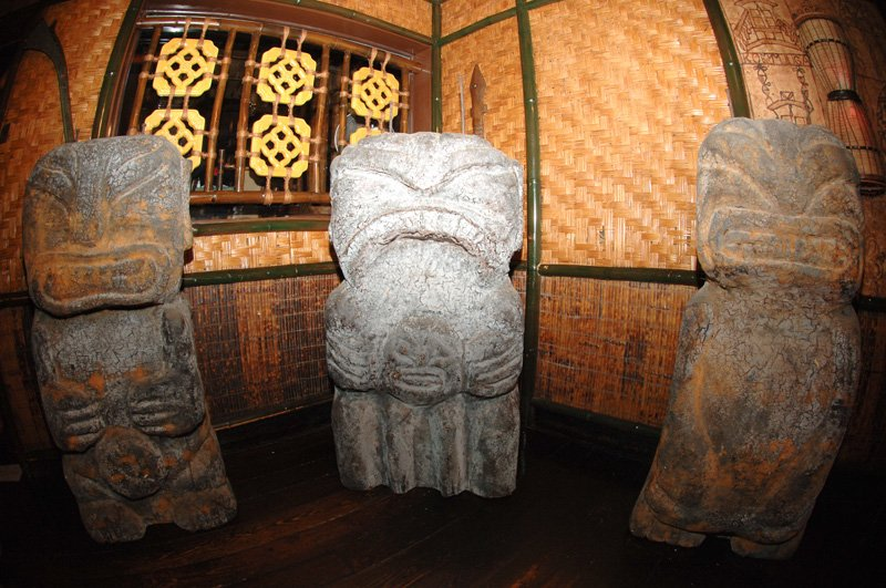 The three cannibal Tikis from The Mai-Kai's original outdoor sign were brought out of storage and displayed at The Hukilau in 2008. (Photo by Go11Events.com)