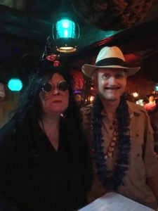 An Evil Minnie (The Mai-Kai's Pia Dahlquist) meets Don the Beachcomber's acquaintance.